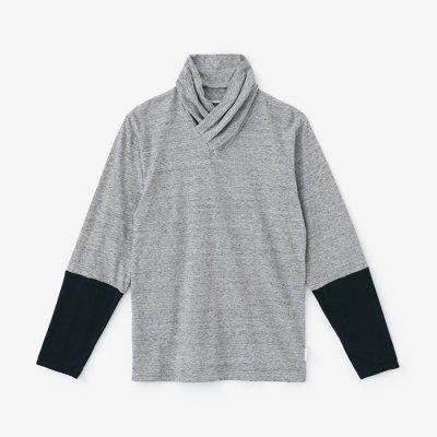 衿巻ジバン 違い袖/杢灰×青墨(もくはい×あおずみ)