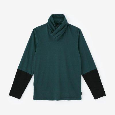 衿巻ジバン 違い袖/深緑色×濡羽色(しんりょくしょく×ぬればいろ)