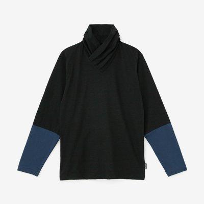 衿巻ジバン 違い袖/濡羽色×濃紺(ぬればいろ×のうこん)
