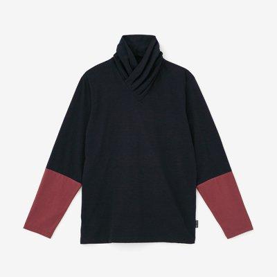 衿巻ジバン 違い袖/紫黒×赤銅色(しこく×しゃくどういろ)