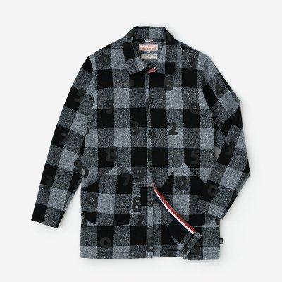 ウールコットン ブロックチェック 衿付きカーディガン/SO-SU-U ブルー・グレー×ブラック