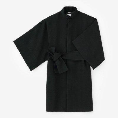 梳毛杉綾織(そもうすぎあやおり) 角袖外套(かくそでがいとう) 袷(あわせ)/濡羽色(ぬればいろ)