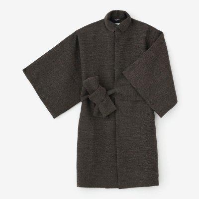 梳毛杉綾織(そもうすぎあやおり) 角袖外套(かくそでがいとう) 袷(あわせ)/媚茶(こびちゃ)