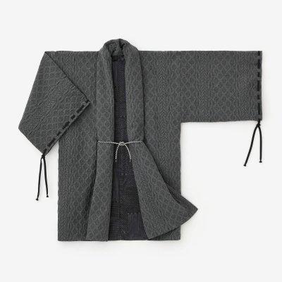 ジャカール 宮中袖(きゅうちゅうそで) 間(けん) 袷(あわせ)/濃灰(こいはい)×間がさね