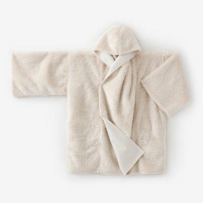 フェイクファー 頭巾外套(ずきんがいとう)/象牙色(ぞうげいろ)