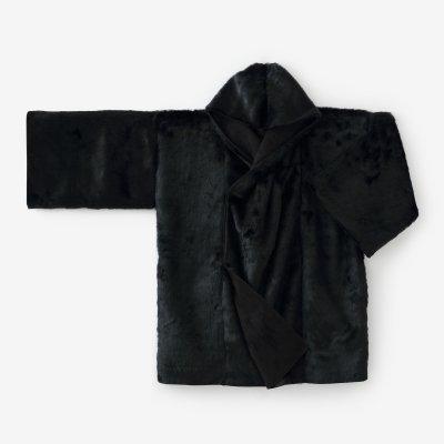 フェイクファー 頭巾外套(ずきんがいとう)/濡羽色(ぬればいろ)