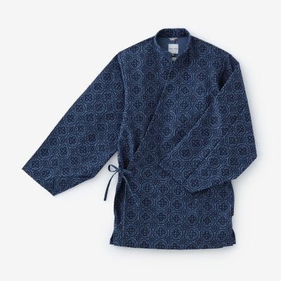 綿フランネル 手柄作務衣(たかみさむえ)/つなぎ花紋(かもん) 薄縹(うすはなだ)