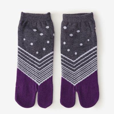 足袋下(踝丈)/傾き 素鼠×紫 【男・女性用】