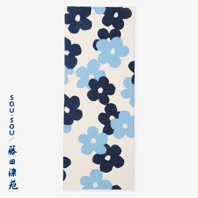 SOU・SOU×藤田染苑 藍捺染 手ぬぐい/花がさね