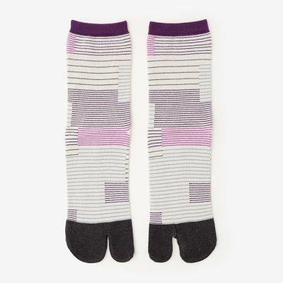 足袋下(普通丈)/縞がさね 京紫×濃灰 【男・女性用】