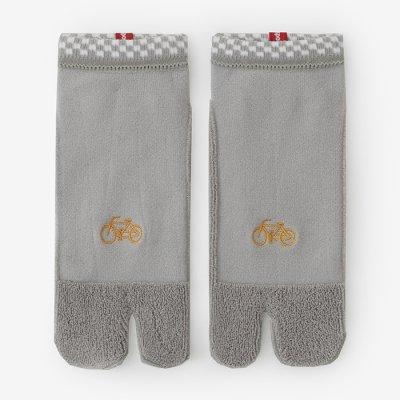 クッションパイル足袋下(踝丈)/チャリンチャリン 銀鼠(ぎんねず)