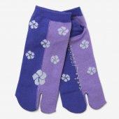 足袋下(踝丈)/ねじ梅 瑠璃色×若紫 【男・女性用】