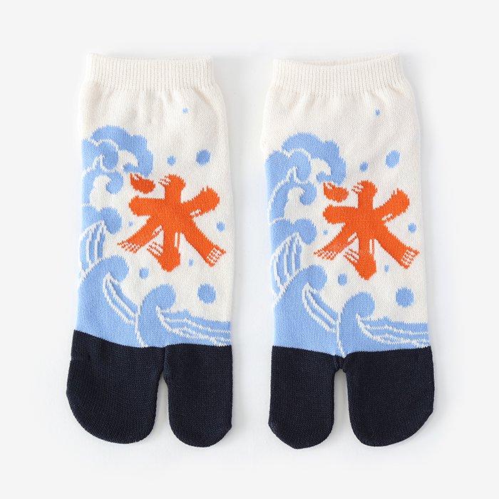 足袋下(踝丈)/かき氷 鳥の子色×鉄紺 【男・女性用】