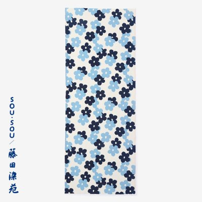 SOU・SOU×藤田染苑 藍捺染 手ぬぐい/花がさね 小