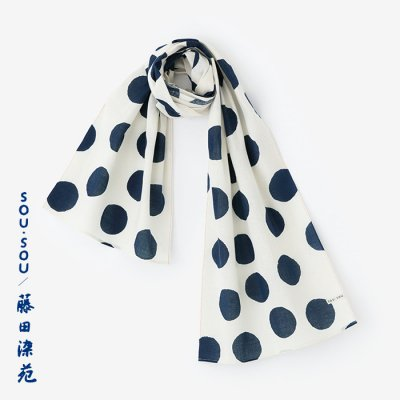 SOU・SOU×藤田染苑 藍捺染 くびまき/すいぎょく