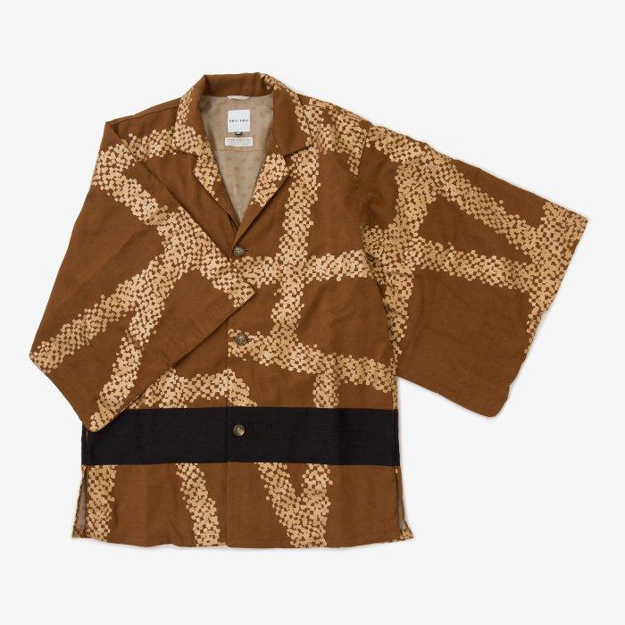 【20%OFF】 フェイクスエード 開襟帯草衣 博多/がんじがらめ 赤銅色(しゃくどういろ)