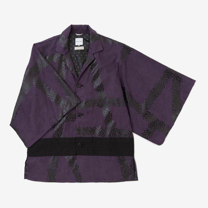 【20%OFF】 フェイクスエード 開襟帯草衣 博多/がんじがらめ 紫紺(しこん)