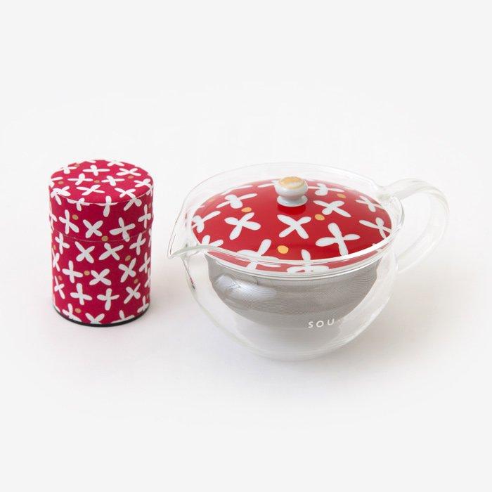 ガラス急須&茶缶セット/すずしろ草(そう)