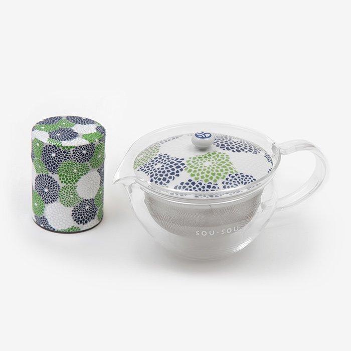 ガラス急須&茶缶セット/菊づくし