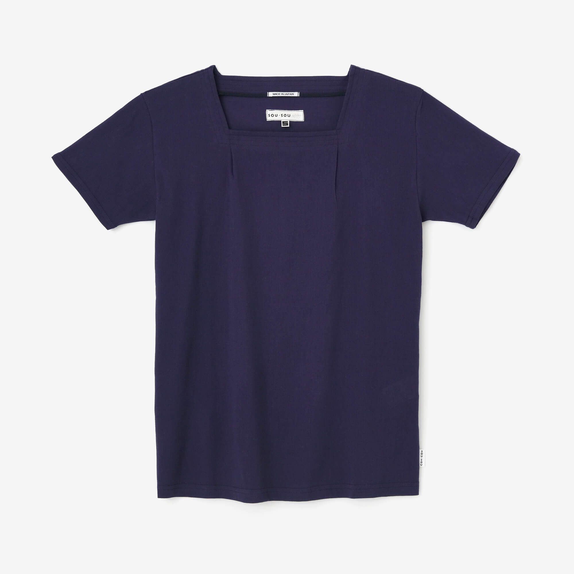 高島縮 被風ジバン 半袖/正紺(しょうこん)