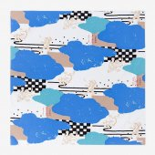 手捺染 風呂敷(大)/雲間と鳥獣戯画