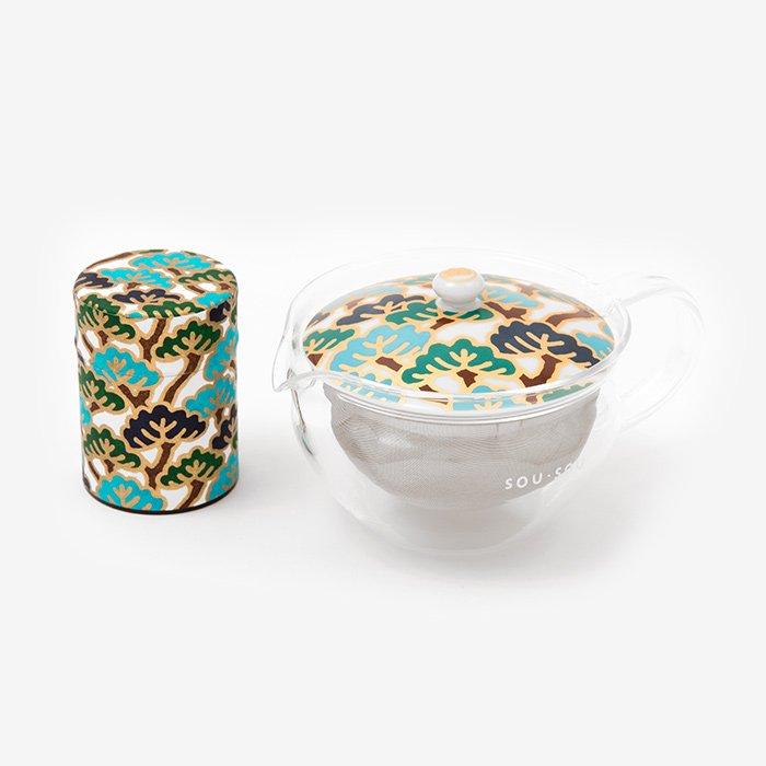 ガラス急須&茶缶セット/松は松らしく