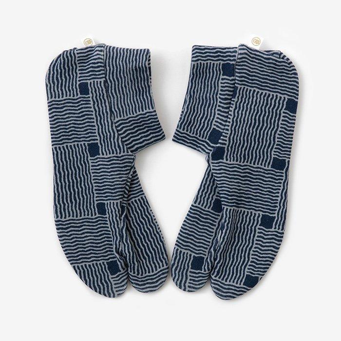 ストレッチ足袋 柄 綿/かごめ編み ※滑り止め付