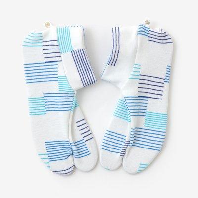 ストレッチ足袋 柄 綿/水音(みなおと) ※滑り止め付