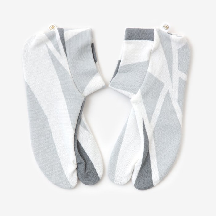 ストレッチ足袋 柄 綿/薄氷(うすらび) ※滑り止め付