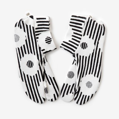 ストレッチ足袋 柄 綿/白菊(しらぎく) ※滑り止め付