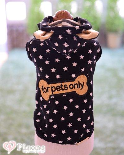 【For Pets Only】Star T-shirt かっこいいブラック×ゴールドカラーに星柄がセレブカジュアルなパーカー♪ かっこいい中にも耳付きがキュート♡ 男の子にも女の子にもGoodなデザインです。 ゴールドのラメにFOR PETS ONLYのロゴワッペンが目を引きます。伸...