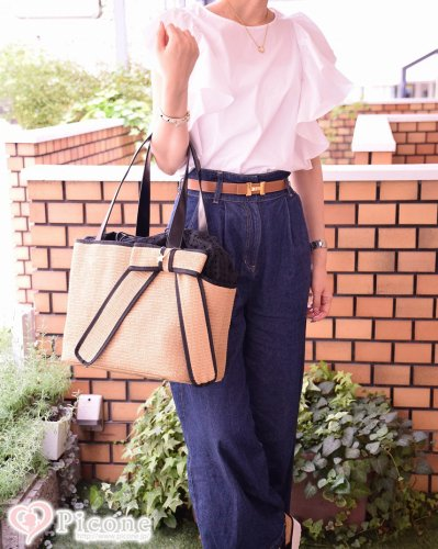 【ducie】Big ribbon summer basket carrier