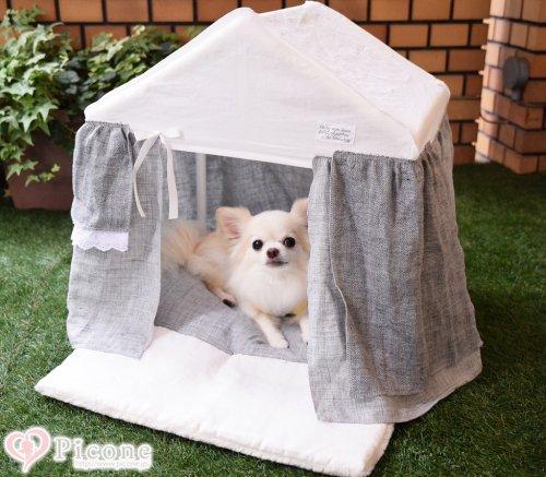 【Louis dog】Peekaboo/Linen Cabana大人気の天蓋ベッドから待望の新作が登場しました☆グレー×ホワイトカラーが上品で、リネン素材の涼しげなデザイン。ハウス型ベッドはプライベートな空間を 確保出来るのでぐっすり眠れますね☆ 更にふっかふかのクッションで寝心...