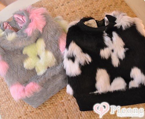 ★SALE★【ducie】flower faux fur blouson