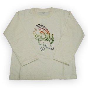 エスニックファッション・アジアンファッション 【Kid's】フェザーエレファントロングTシャツ/エスニックファッション・アジアンファッション