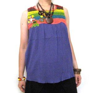 エスニックファッション・アジアンファッション  お花クロシェットタンクトップ/エスニックファッション・アジアンファッション・アウトレット・セール