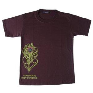 エスニックファッション・アジアンファッション タイ文字孔雀羽柄Tシャツ
