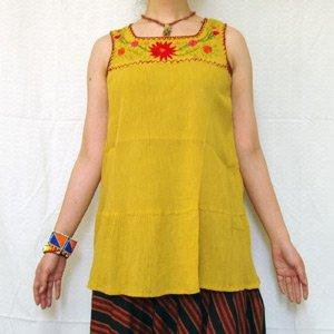 エスニックファッション・アジアンファッション  胸元花刺繍チュニック/エスニックファッション・アジアンファッション・アウトレット・セール