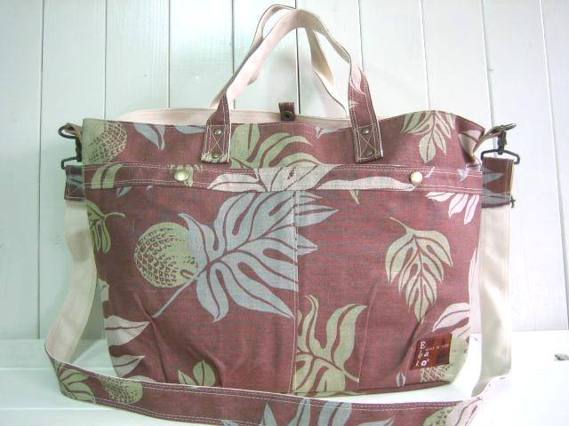 Ehako* マザーズトートBag LINEN HAWAIIAN BROWN