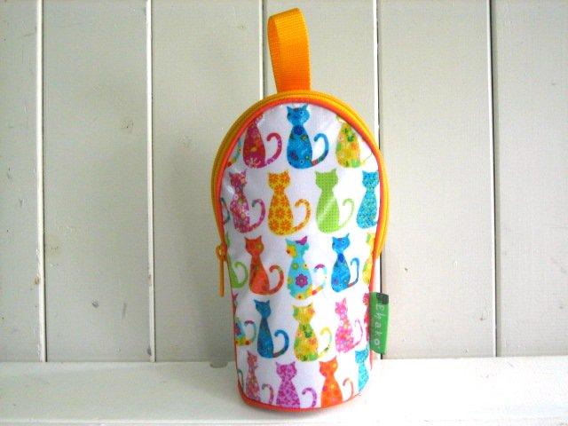 feeding bottle Case カラフルキャット ホワイト PVC PVC