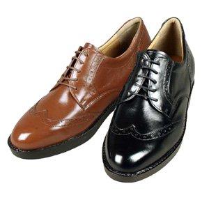 ヒールアップシューズ カンガルー革ウイングチップ 履くだけでシークレットにシューズで7cm身長アップ