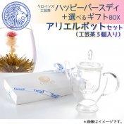 ハッピーバースディ+選べるギフトBOX(アリエルポットセット・工芸茶3個付き)