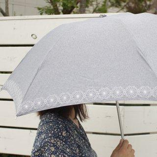 【刺繍タイプ】korko(コルコ)/ 晴雨兼用 刺繍 折りたたみ傘 / コーンフラワー 【UPF50+】【紫外線カット率90%以上】