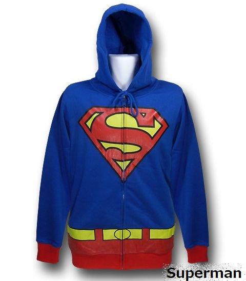 【激安★在庫のみで完全終了】裏起毛であたたか★スーパーマン コスチュームパーカー Superman アメコミ DCコミ…
