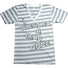 Iwrestledabearonce - Logo (Striped) (V-Neck)