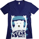 Iwrestledabearonce - Bear Rocking Out (Triblend Indigo) (Deep V-Neck)