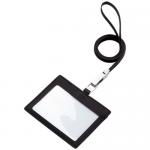レザーIDカードホルダー(ネックストラップ付)/リアルブラック