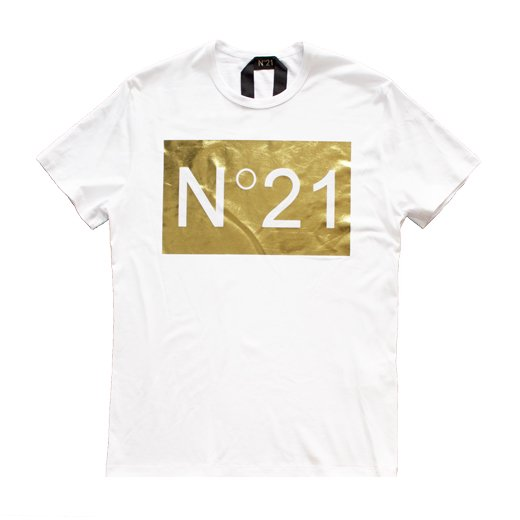 N°21   ヌメロヴェントゥーノ  メンズ 正規取扱店 箔プリントロゴTシャツ/ホワイト