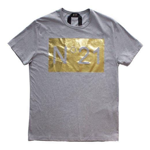 N°21   ヌメロヴェントゥーノ  メンズ 正規取扱店 箔プリントロゴTシャツ/グレー