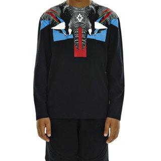 <img class='new_mark_img1' src='https://img.shop-pro.jp/img/new/icons16.gif' style='border:none;display:inline;margin:0px;padding:0px;width:auto;' />【30%OFF】Marcelo burlon Kids(マルセロバーロン キッズ)| KIDS OF MILAN|ELEPHANT 長袖Tシャツ/ブラック